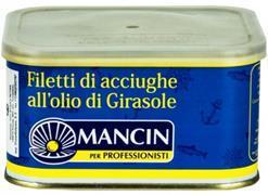 Филе анчоусов в подсолнечном масле Манчин ж/б 0.6кг.